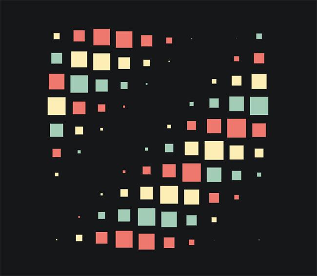 纯CSS3彩色方块波浪动画特效